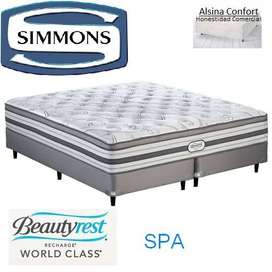Sommier y colchón simmons beautyrest SPA 200x160 impecable. No flip.