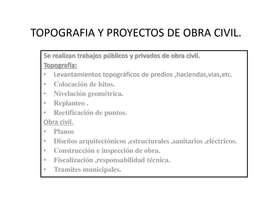 TOPOGRAFIA Y PROYECTOS DE OBRA CIVIL LOCAL Y NACIONAL
