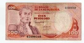 BILLETE  DE COLOMBIA DE 100  PESOS  BINOMIO
