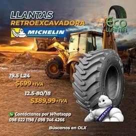 LLANTAS PARA RETROEXCAVADORA Michelin 19,5 - L24 / 12,5 - 80/18