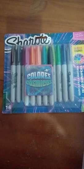Marcadores sharpie x 16  colores cósmicos