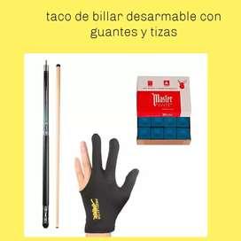 Taco billar desarmable con guante y tizas