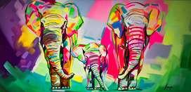 Cuadro elefantes 40×80 cm Hecho a Mano