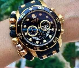 Invicta 6981 para hombre Pro Diver análogo Reloj Suizo cronógrafo Poliuretano Color Negro