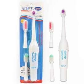 Cepillo de dientes de masaje eléctrico, 3 cabezales de repuesto, funciona con batería, cabezal de cepillo portátil,