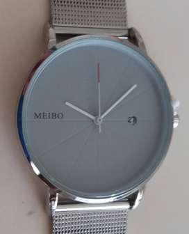 Reloj Hombre Extra Chato,calendario.caja/malla Acero Inoxid.