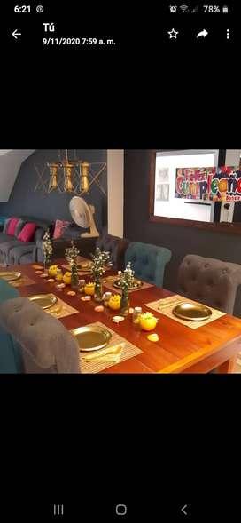Comedor rustico y elegante..mueble en cedro auxiliar...bar elegante