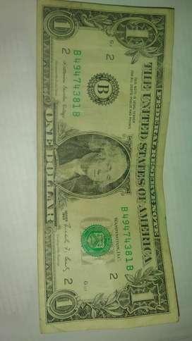 Billete de 1 dólar sello verde