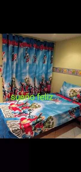 Sábanas sencillas y cortinas infantiles