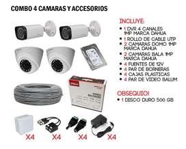 COMBO 4 CÁMARAS  DE SEGURIDAD DE 1MPX