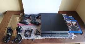 Permuto o vendo Ps4 500 Gb+ Dos Joysticks+ Juegos Físicos+ Auricular