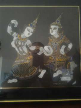 Obra de Arte Hindu a Mano Hermosa Unica