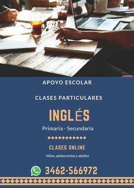 Clases de Inglés - Apoyo Escolar (modo virtual)- Traducciones Inglés-Español