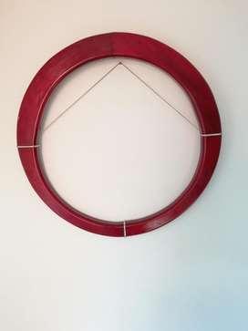 Marco espejo redondo en cedro macizo y pesado