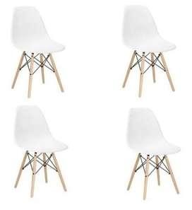 Kit 4 Sillas Charles Eames Madera - Eiffel + Envio gratis