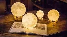 Lámpara Luna 12 Cm 3d Luz Led Colores + Base Madera ULTIMAS UNIDADES