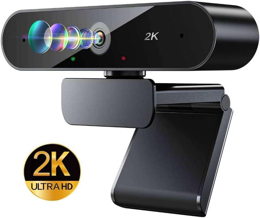 Cámara web con micrófono, cámara web DEPSTECH 2K HD con corrección automática de luz