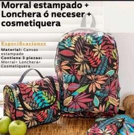 Morral Estampado + Lonchera + Cosmetiquera