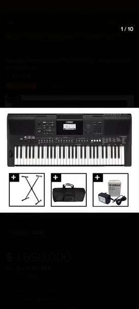 TECLADO PIANO YAMAHA PSR E463 CON ESTUCHE, BASE,DVD, PEDAL SUSTAIN.