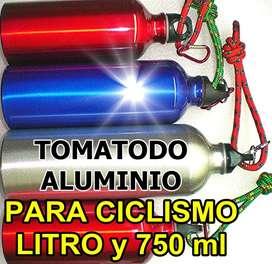 BOTELLA CANTIMPLORA ALUMINIO BRILLANTE 1 LITRO DEPORTES GYM CAMPING