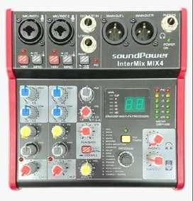 Consola Interfaz Mixer Grabación Soundpower 4 y 6 canales de entrada FX