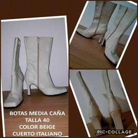 botas dama talla 41 color beige de CUERO