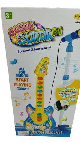 Guitarra Eléctrica 57cm Juguete Niños Azul Incluye Micrófono