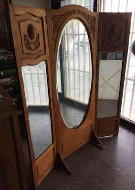 Espejo Antiguo de Pie Triptico Roble