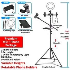 Stand profesional con aro y dos soportes para celular