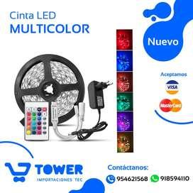 Cinta de 5 metros LED versión original de 16 Colores + control Remoto + fuente de poder
