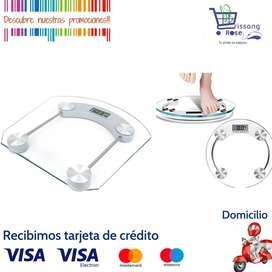 Bascula Pesa Balanza Digital Personal en Vidrio Templado, Pesa en KG y en Libras