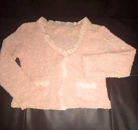 Chompa para vestido fiesta nueva de niña con bolsillos