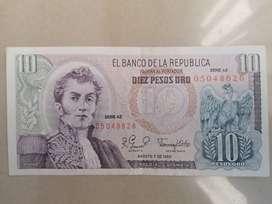 Billete Antiguo de 10 pesos