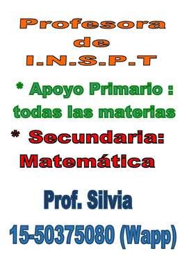 Profesora de Matematica de Secunadaria y Apoyo Escolar Primario