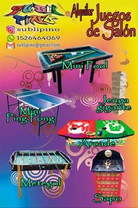 Alquiler de juegos de salón Metegol, PingPong, Arcade, Sapo, Jenga, Pool, Tejo