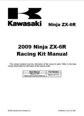 KAWASAKI NINJA ZX-6R 2009 MANUAL KIT CARRERA