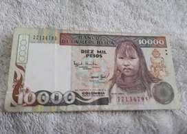 Billete  de 10000 pesos de colombia