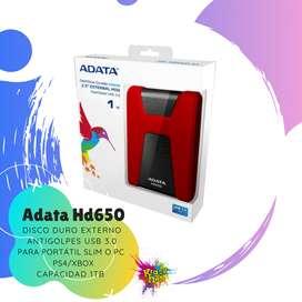 ADATA HD650 1TB TERA DISCO DURO EXTERNO PARA PORTATIL SLIMM / PC  Ps4/xbox