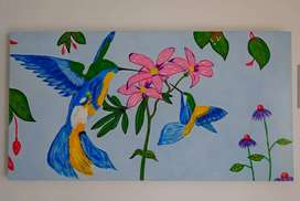 Cuadros de colibríes, acrílico sobre madera