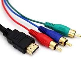 Conector  HDMI  a RCA AV. Cable audio convertidor:TV, HDTV, DVD. 1080P