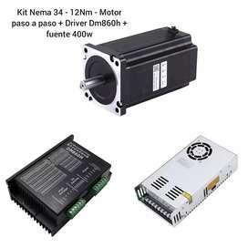 Kit Motor nema 34 - 12nn paso a paso + Driver Dm860h + fuente de 400w