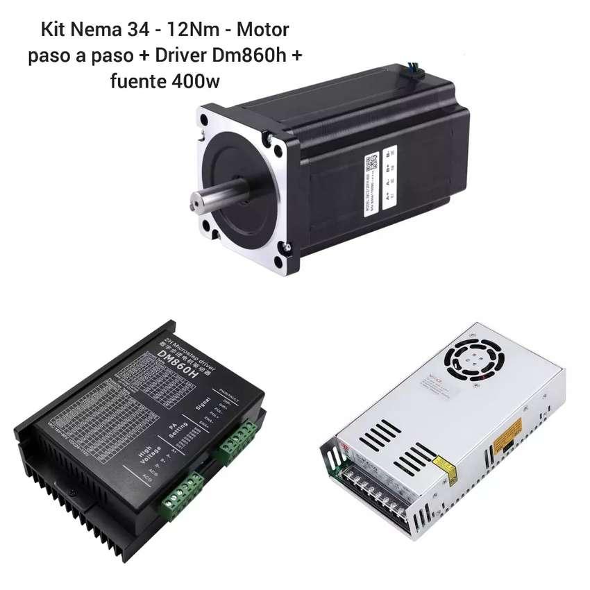 Kit Motor nema 34 - 12Nm paso a paso + Driver Dm860h + fuente de 400w