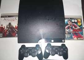 Ps3 Slim Playstation3 con 2 mandos originales y 2 juegos
