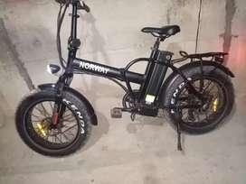 Vendo mi Bicicleta eléctrica aro 20 con rueda de moto freno de disco delantera y trasera con su cargador luces lec