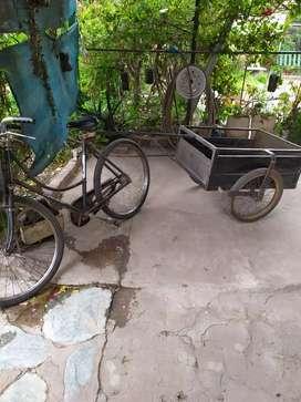 Bicicleta inglesa 26 + carrito jardinero.