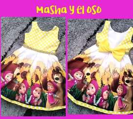Vestido de Fiesta Masha y Oso Escote en V