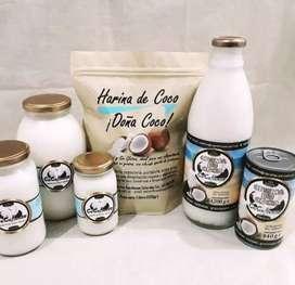 Aceite de coco virgen, harina de coco y crema de coco
