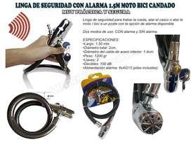 Linga Moto Con Alarma Seguridad Seguro Candado Bici 1,5 Mts