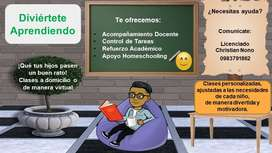 Tutorías personalizadas de manera virtual o a domicilio