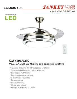 Ventilador SANKEY TECHO CON LUZ LED ,CONTROL  REMOTO , ASPAS RETRACTILES !!!
